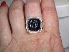 DAVID YURMAN ALBION 14MM BLACK ORCHID STERLING SILVER DIAMOND RING SIZE 7