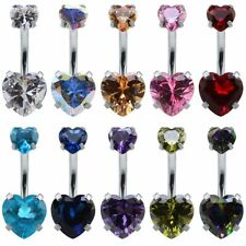 Gold Heart Shaped Crystal Belly Bars Women Body Piercing Navel Ring Button