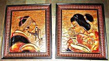 PAIR MID CENTURY JAPANESE ENAMEL ON HAMMERED COPPER FRAMED PLAQUES GEISHA & MAN