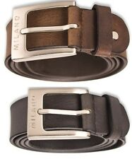 MILANO MENS 1 INCH REAL FULL GRAIN LEATHER BELTS SILVER BUCKLE BLACK BROWN 2900
