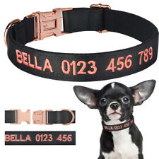 Personalized Nylon Dog Collar Custom Engraved Embroidered ID Pet Name Black XS-L
