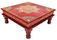 Indian Wooden Garden House Table Painted Furniture Red Chowki Bajot Side Tables