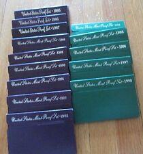1984 - 1998 U.S. Mint 15 Proof Set San Francisco Mint Box and COA