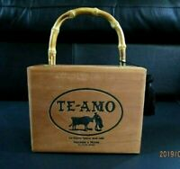 Vintage TE-AMO Wooden Cigar Box Purse Cane Handle BlackTassel San Andres, Mexico