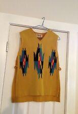 Vintage Chimayo Vest Americraft Indian Wool 1960s - Yellow Black Blue Red M?