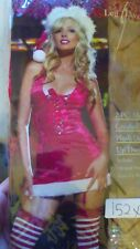 2PCS, MISS CLAUS DRESS, STOCKINGS INCLUDED. HAT  SEPERATELY, SIZE XL,
