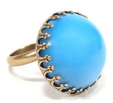 SoHo® Ring bronze türkis bohemia 1960er Jahre handgemachter Glasstein cabochon