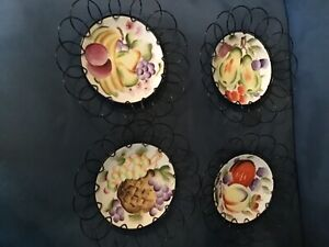 4 Fruit Hand Painted Vintage Plates/Japan Black Metal Wire Hangers Wall Decor