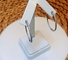 In and Out CZ Hoop Earrings-Inside Outside Pave-Silver Rhodium EP-Hinged-1.37""