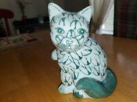 "Vintage Andrea by Sadek Handpainted Fishnet Cat 5.25""×4.25""×3.75"" Green"
