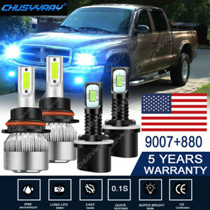 4pcs For Dodge Dakota Durango 1998-2000 LED Headlights Fog Light Bulbs Kit 8000K