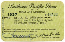 Southern Pacific Lines in TX and LA, 1937, #F46522, annual pass