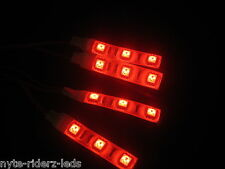 RED 5050 SMD LED 4 STRIPS 3 LEDS EACH  FITS  MINI-COOPER LOTUS TOTAL 12 LEDS