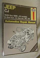 Haynes Automotive Repair Manual 412 :  Jeep CJ 1949 - 1986- All Models  (1986, P
