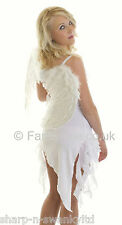Ladies Sexy White or Black Angel Adult Sexy Fancy Dress Costume Outfit + Wings