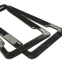 Plastic Carbon Fiber Style License Plate Frames Front and Rear Bracket 2pc Set