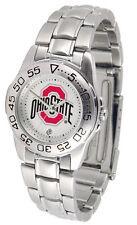Ohio State Buckeyes Licensed Women Ladies Sport Steel Band Watch