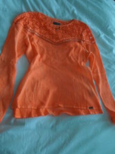 Superdry Cotton Cheesecloth Lace Shirt 10 Size NEW - Neon Orange