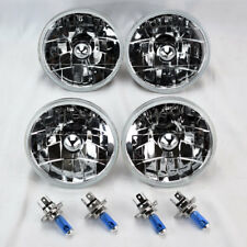 "FOUR 5.75"" 5 3/4 Round H4 Clear Glass Headlight Conversion w/ Bulbs Set Dodge"