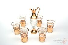 Cordial Glasses (6) and Small Decanter - Gold