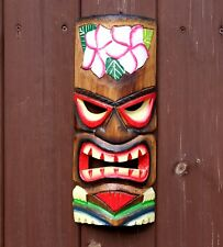Large 30cm Hand Carved Painted Tiki Hawaiian Wall Hanging Mask Face Bar MensGift