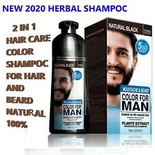 Permanent Beard Hair Dye Color Shampoo Men Natural Black Colour Cover Gray 200ml