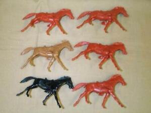 "Marx Toys MXR-RH-N ""Running Cavalry Horses (6pcs)"" 54mm Plastic Horses"