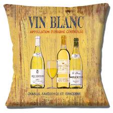 """Nouveau vin blanc vintage rétro Sancerre Sauternes Chablis 16 """"Oreiller Coussin Couverture"""