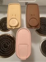 3 PC TUPPERWARE *MODULAR MATES CEREAL STORER BROWN TAN AND PINK USED W/ LIDS