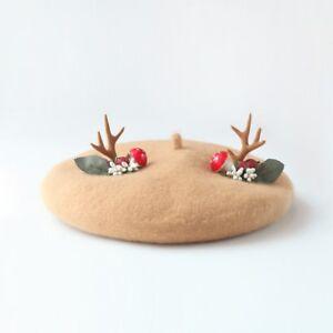 Deer wool blend beret moose reindeer antlers women's hat handmade Christmas gift