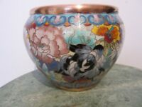 ANTIQUE  CHINESE CLOISONNE ENAMEL BOWL FISH BOWL WITH BIRDS AND FLOWERS