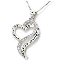 Always My Sister Forever My Friend Love Heart CZ Pendant Necklace Jewelry Box S2