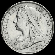 More details for 1895 queen victoria veiled head silver half crown, near ef