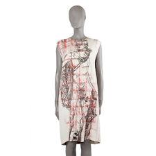 41642 auth MIU MIU off-white PRINTED viscose Sleeveless Shift Dress 44 L