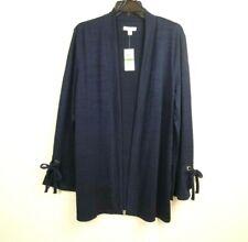 Charter Club Womens Open Cardigan Sweater L Navy Blue Long Sleeve Bell Cuff