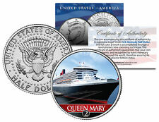 RMS Queen Mary 2 Ocean Liner Colorized JFK Half Dollar Coin - U.s. Legal Tender