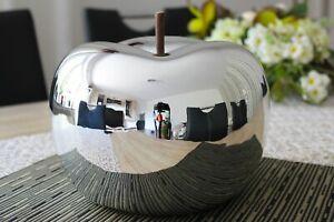 Deko Apfel 22cm B Ware Keramik silber chrom glasiert Objekt Dekoapfel Figur