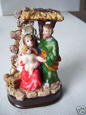 """Christmas Nativity Stable Mary Joseph Baby Jesus In A Manger 3.5"""" Tall Figurine"""