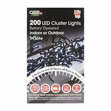 WHITE 200 LED 2m CLUSTER LIGHT BATTERY OPERATED INDOOR OUTDOOR XMAS CHRISTMAS