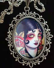 1920s PIN UP GIRL Large Antique Silver Pendant Necklace *Rockabilly*Tattoo*Goth*