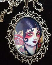 1920s Pin Up Girl Grandi COLLANA CON PENDENTE IN ARGENTO ANTICO * Rockabilly * TATTOO * Gotico *