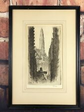 Vintage 1930's Lithograph Art Print Of Chicago Signed By Artist AC Webb