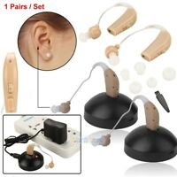 2 Rechargeable Acousticon Behind Ear Hearing Aid/Aids Audiphone Sound Amplifier