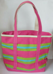 LL Bean Boat & Tote Bag - Pink, Green & Teal Beach Bag