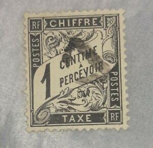Timbre Taxe N°10 ttb  1c a percevoir Type Duval Oblitéré triangle