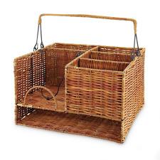 Tabletop Organizer Wicker Wood Basket Storage Picnics BBQ Large Compartments New