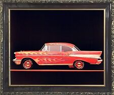 Classic Chevy Bel Air 1957 Vintage Car Wall Decor Art Mahogany Framed Picture