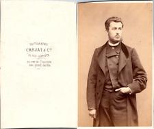 Carjat, Paris, Bel homme en pose  Vintage CDV albumen carte de visite CDV, tir