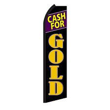Cash For Gold Advertising Sign Swooper Feather Flutter Banner Flag Only