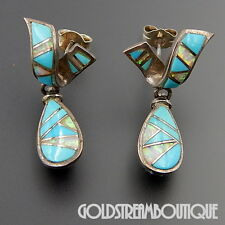 ZUNI 925 SILVER TURQUOISE GILSON OPAL MOSAIC INLAY DANGLE TWISTED POST EARRINGS